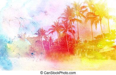 watercolor retro palms - lovely watercolor retro palm Island...