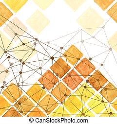 Watercolor rhombus geometric seamless pattern. Brown,Yellow...