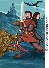 watercolor, ridder, prinsesje, vecht, draak