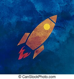 Watercolor Rocket on aquarelle background