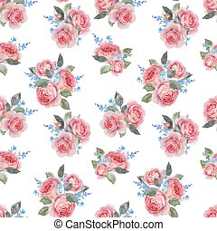 Watercolor rose floral vector pattern