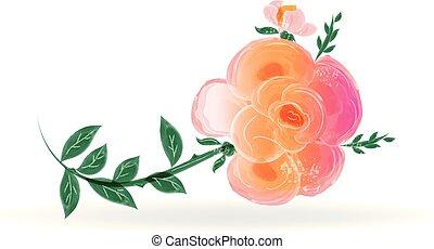 Watercolor rose flower logo design