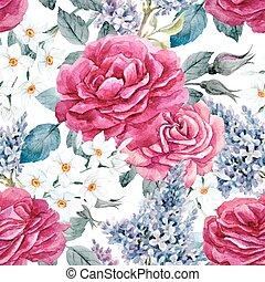 Watercolor rose seamless vector pattern