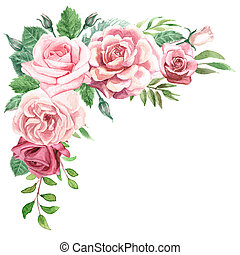 Watercolor Roses and Greenery Floral Corner Bouquet