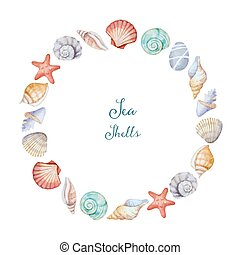 Watercolor round frame of sea shells