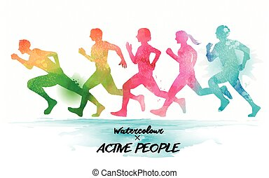 Watercolor running people