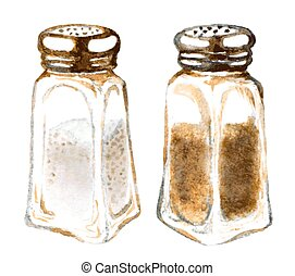watercolor salt and pepper shakers