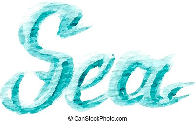 watercolor sea text