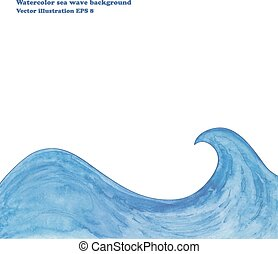 Watercolor sea wave background.