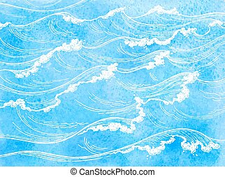 Watercolor sea waves