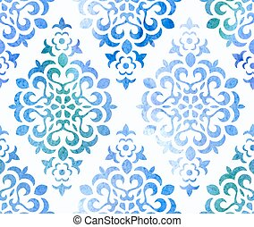 Watercolor seamless floral ornament. Vector background.