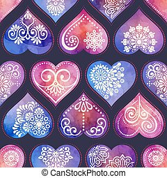 Watercolor seamless patern with heart and mandala ornament...