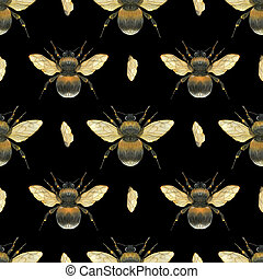 Watercolor seamless pattern Fat Fluffy Flying Bumblebees