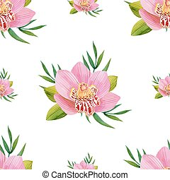 Watercolor seamless pattern of exotic flowers. Bright colors...