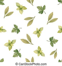 Watercolor seamless pattern of pars