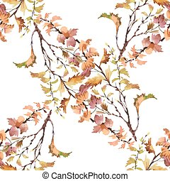 Watercolor seamless pattern on white background with autumn leaves.