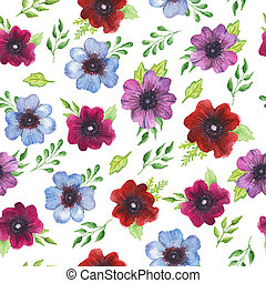 Ranunculus flowers - Watercolor seamless pattern with bright...