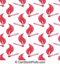 Watercolor seamless pattern with burning match stick on the white background, aquarelle pencil. Vector illustration.