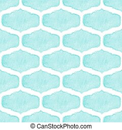 Watercolor seamless pattern with victorian frames on the white background, aquarelle. Vector illustration.