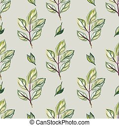 Watercolor seamless pattern with green leaves