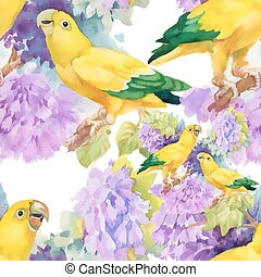 Watercolor seamless pattern with parrots and white flowers on white background.