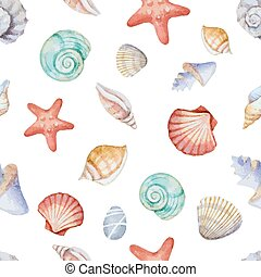 Watercolor seamless pattern with sea shells on white...