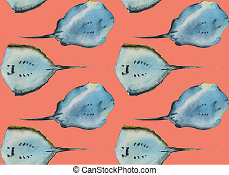 Watercolor seamless pattern with two stingray fishes view from bottom, on pink or orange background.