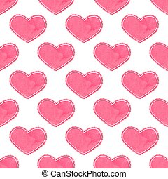 Watercolor seamless pattern with victorian heart on the white background, aquarelle.  Vector illustration.