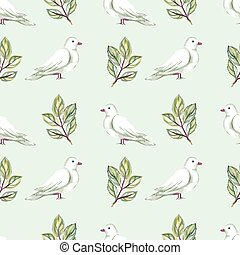 Watercolor seamless pattern with white doves and roses....