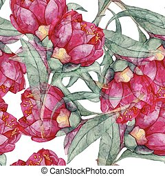 watercolor seamless vintage flower pattern