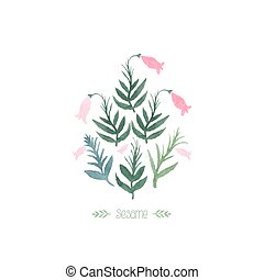 Watercolor sesame plant. Vector design elements. Pink flower...