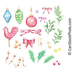 Watercolor set of Christmas decoration