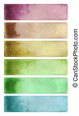 watercolor, set, spandoek, kleurrijke, bewolkt