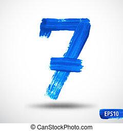 Watercolor Seven Number. Grunge Background