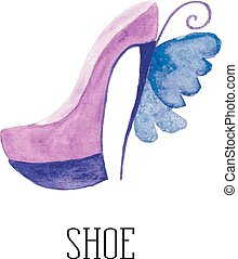 watercolor shoes with the wings of
