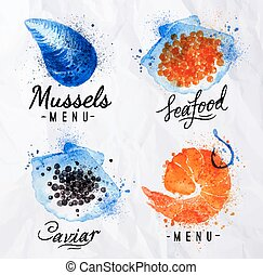 Watercolor signs seafood shrimp, caviar, mussels with...