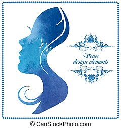 watercolor silhouette of a beautiful young woman