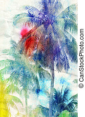 watercolor silhouettes of palm trees - colorful retro...