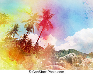 watercolor silhouettes of palm trees - watercolor retro palm...