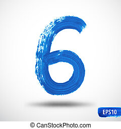 Watercolor Six Number. Grunge Background