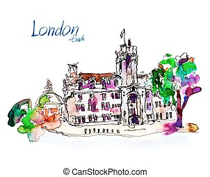 watercolor sketch drawing of London street landscape view