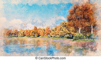 Watercolor sketch of scenic autumn landscape