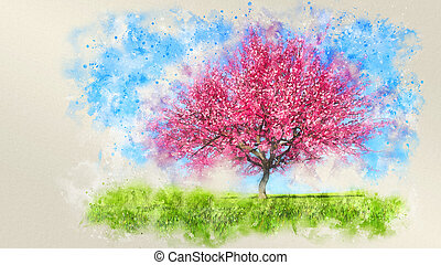 Watercolor sketch of single blooming cherry tree