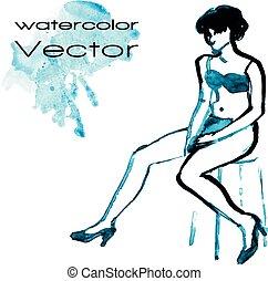 Watercolor sketch of woman