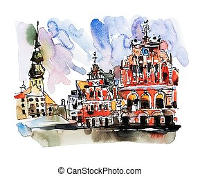 watercolor sketch painting of old town Riga Latvia top view city