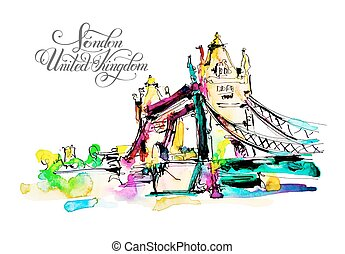 Watercolor sketch painting of The Tower Bridge in London town