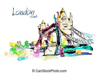 Watercolor sketch painting of The Tower Bridge in London