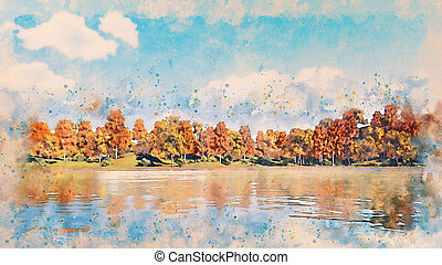 Watercolor sketch with autumn trees on lake shore