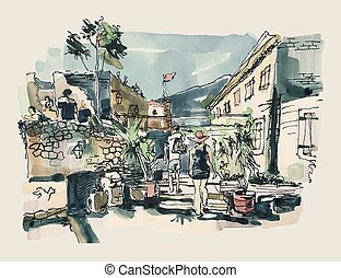watercolor sketching of Budva Montenegro old fortress...
