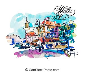 watercolor sketching old town historical buildings Warsaw...